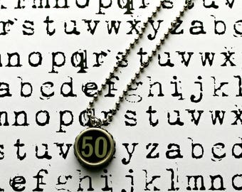 Vintage 1940s Upcycled Cash Register Key Necklace-Number 50 -Unisex Jewelry-Technology Geeks-by OldTimeVintageFinds