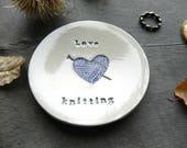 Love Knitting Ceramic Jewelry Dish, Red Yarn Heart Pottery, Mother Trinket Dish , Stitch Marker Holder, Knitter Dish, Sisters Gift