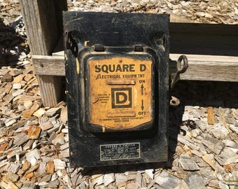 Vintage Square D Fuse Box, Rustic, Black, Yellow, Metal, Supplies, Industrial Decor, Man Cave, Industrial Salvage, Electrical Gadgets