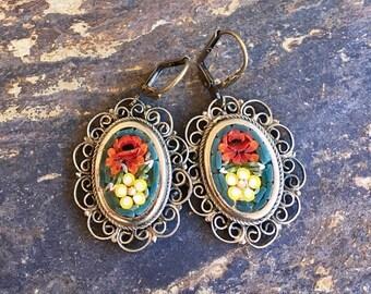 1stDayofSummerSALE Micro Mosaic Bridal Rose Earrings Vintage 1940 1950 Italy Glass Dangles Romantic Vineyard Wedding