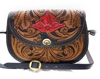 Handmade Leather Floral Tooled Handbag