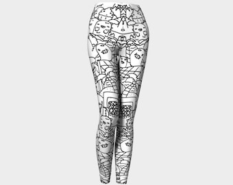 Dino derp black and white orignal doodle leggings womans size small, medium, large