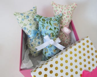 Cat Shelf Sitters, Set of Three Pillow Tucks,  Floral Print Cats, Cat Shape Pillows, Country Rose Cats, Fabric Cat Dolls