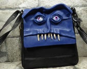 Messenger Bag Cross Body Purse With Face Small Monster Harry Potter Labyrinth Blue Black Leather Halloween Accessory 388