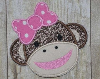25% OFF GirlSock Monkey Applique Embroidery Design - Instant Download