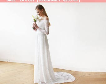 Ivory Off-The-Shoulder Floral Lace Long Sleeve Maxi Dress with a Train 1148