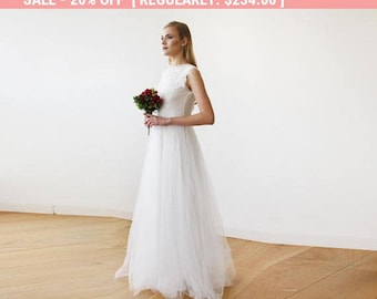 Ivory Tulle and Lace Sleeveless Maxi Bridal Gown, Lace and tulle bridal maxi gown  1145