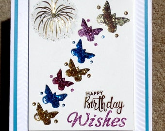 Birthday  Handmade 3D Greeting Card with Butterfly Shaker Box Element