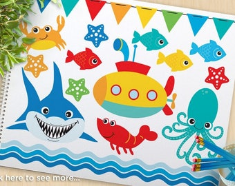Under the Sea (#2) Clipart, Fish, Shark, Submarine, starfish, crab, octopus, bunting, beach, summer, commercial use, vector clipart, SVG Cut
