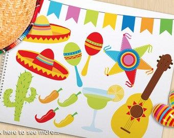 Clipart - Cinco De Mayo / Mexico, maracas clipart, Piñata, margarita, mardi gras clipart, sombrero hats, chilli peppers, vector SVG clipart