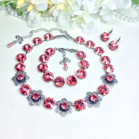 Swarovski Crystal 14mm Necklace, Bracelet and Earrings  - Gorgeous  Coral Crystals & Filigree and Crystal Flowers - FREE SHIPPING