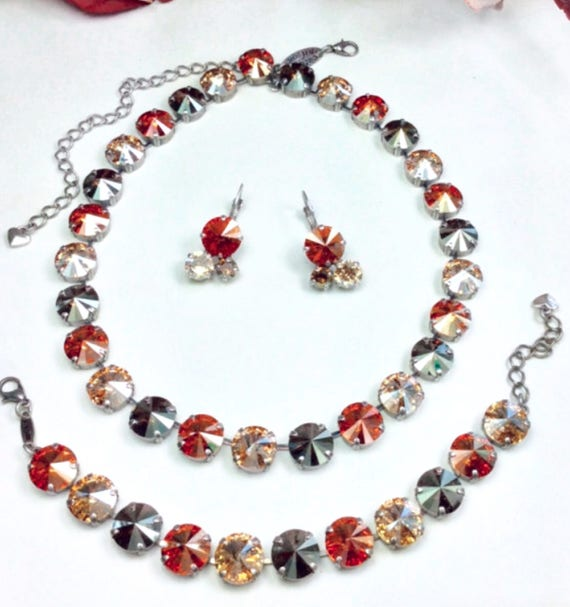 "Swarovski Crystal 12MM Necklace, Bracelet & Earrings  - Designer Inspired  "" Manhattan Fall "" Sophisticated Fall Shades - FREE SHIPPING"
