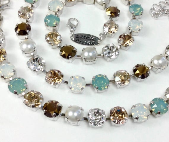 "Swarovski Crystal 8.5mm Necklace & Bracelet - Designer Inspired- ""Pacific Dream"" - Pacific Opal, Creamy Pearls, Golden Hues - FREE SHIPPING"