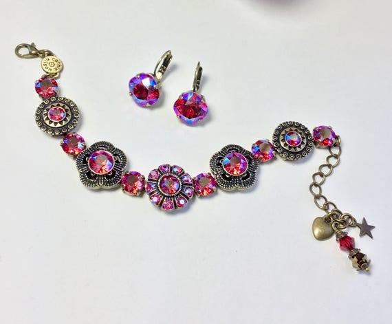 "Swarovski Crystal Bracelet - "" Byzantine Beauty "" Designer Inspired - Autumn Colors & Peacock Eye Crystals - FREE SHIPPING"
