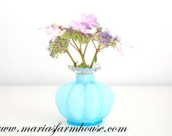 VASE, Vintage Fenton Blue Glass Vase with Crimped Crest Edge, Gifts for Her