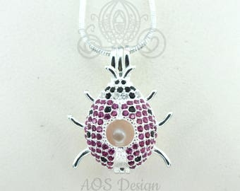 Ladybug Pearl Cage 925 Sterling Silver Locket Crystal Accents Silver Necklace Lady Beetle Cosplay Jewelry