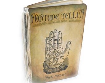 Fortune Teller Journal, Palmistry Notebook, Tarot Diary, Halloween Spell Book, Witchcraft, Samhain, Witch, Bridal Shower Guest Book