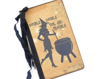 Halloween Spell Book Journal, Kitchen Witch Diary, Potions Notebook, Cauldron, Recipe Book, Book of Shadows, Bridal Shower Guest Book