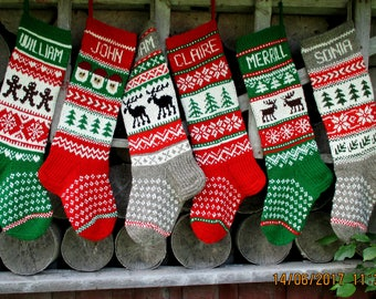Christmas stocking Personalized Wool Hand knit Red Green Gray White Gnomes Santa Deer Snowflakes Snowman decoration