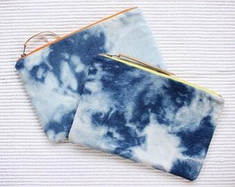 Sky Reverse Shibori - Denim Pouch - Denim Clutch - Organiser Case- Make up Bag
