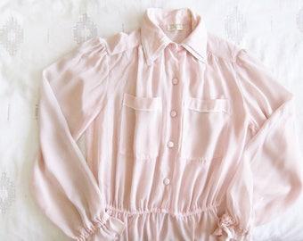 1980s dress - pink pastel sundress - fairy kei dress - semi sheer dress - 80s clothing - long sleeve secretary dress - shirtwaist dress - S