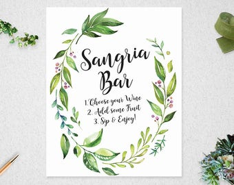 Greenery Sangria Bar Sign // INSTANT DOWNLOAD // 8x10 // Bridal Shower // Wedding // Leafy Watercolor // Printable // #PBP86