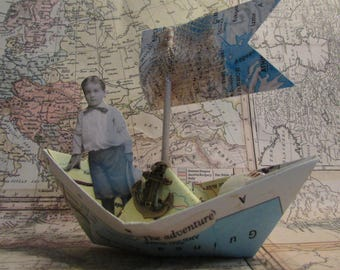 whimsical paper boat boy sailing paper doll nursery decor adventure travel