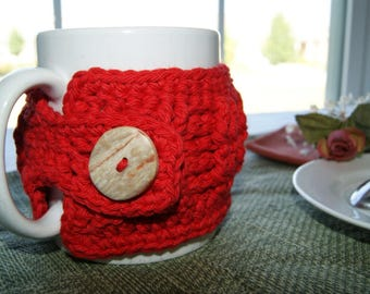 Large Mug Accessory - Coffee Cup Sleeve - Hand Crochet Cup Insulator - Kitchen Accessory - House Warming Gift Basket - Red - Cotton Yarn