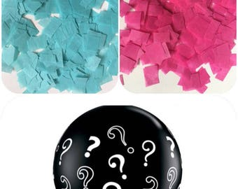 "Gender Reveal Balloon black 36"" question marl balloon with confetti pack Tissue Paper - ANY COLOR you choose gender confetti balloon"