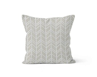 Beige Grey Chevron Pillow Cover - Bogatell Cove - Lumbar 12 14 16 18 20 22 24 26 Euro - Hidden Zipper Closure