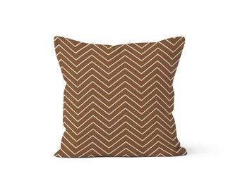 Brown Chevron Pillow Cover Zig Zag - Chevron Caramel - Lumbar 12 14 16 18 20 22 24 26 Euro - Hidden Zipper Closure