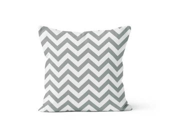 Grey Chevron Pillow Cover - Storm Zig Zag - 18 x 18, 20 x 20 and More Sizes - Zipper Closure - sc1820
