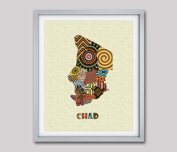 Chad Map Art Print Wall Decor, Chad Poster African Art Print,  N'Djamena Chad Africa, African Map Poster