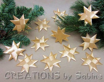 Flat Gold Christmas Stars Set of 12 Folded Ribbon Origami Froebel Star Table Decor Hanging Strings Satin Finish Holidays READY TO SHIP (142)
