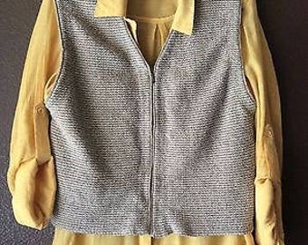 Vintage Womens Sweater Vest with Zipper-Woven Vest-Neutral Beige Zipper Vest-Haley Brand-Free Shipping within U.S.