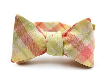 Yellow, Pink, & Green Madras Bow Tie (Self-Tie, Button Back)