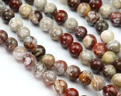 Red Crazy Lace Agate Beads, 8mm Round - 15 inch Strand - eGR-AG775-8