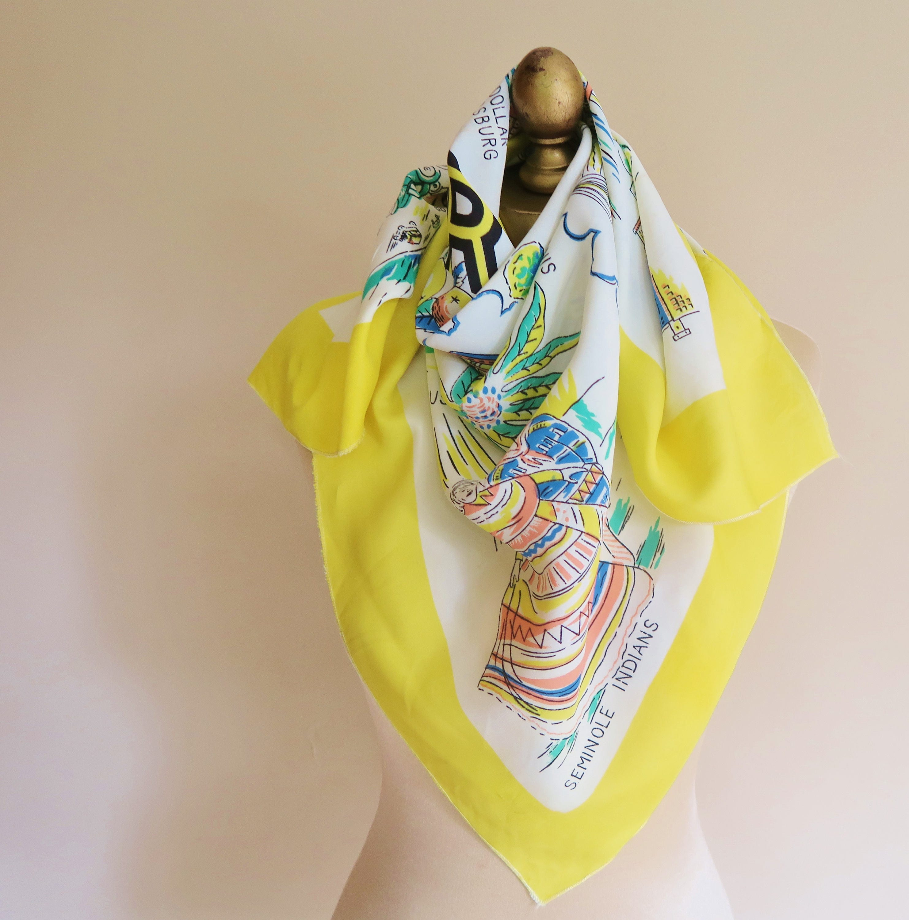 FLORIDA scarf, 1940s accessory, Florida wall art, large square scarf ...