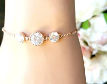 Rose Gold Bracelet, Wedding Bracelet, Drop, bridesmaid gift, bridal gift, Clear, bridesmaid jewerly, wedding jewrly, gift