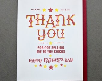 Circus Fathers Day Card, Letterpress Card, Thank You Card, Gifts for Dad, Hand made card, Funny Fathers Day Card