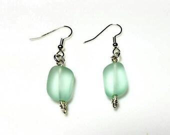Mint Green Recycled Glass Silver Earrings Hypoallergenic Earrings Nickel Free Earrings Beach Sea glass Jewelry Dangle Drop Earrings for Her