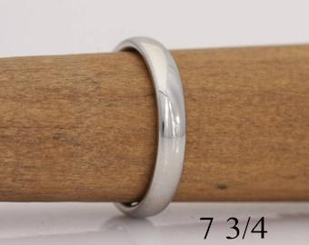 Brides gold band, 14k white gold band, size 7 3/4, or custom sizes 4 to 7 3/4, #723.