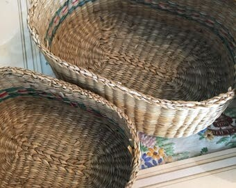 Set of two seagrass woven nesting baskets storage