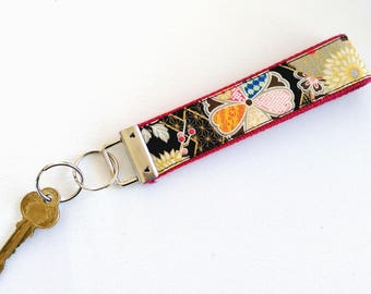 Red Cotton webbing Wristlet Key Fob - Red Miyabi