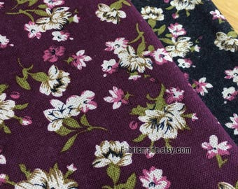 Vintage Style Fabric Tiny White Flower On Dark Purple Black Linen Cotton Blended Fabric Soft  - 1/2 yard