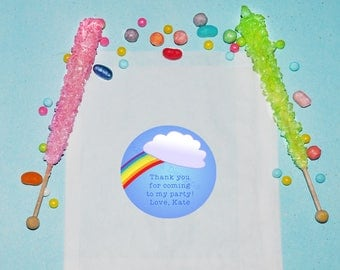 Rainbow Birthday Favor Bags, Personalized Treat Bags, Snack Birthday Party Favors, Candy Rainbow Party Bags, Treat Favor Bags