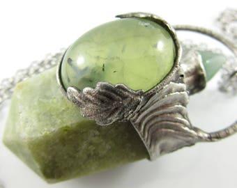 the dryad - vessonite crystal pendant with prehnite & aventurine