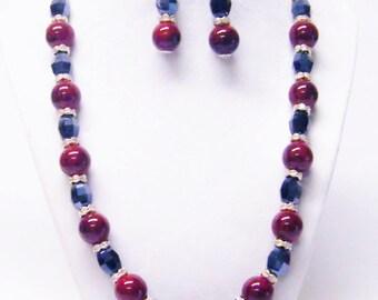 Red Marbleized Bead/Rondelle Crystal Rhinestones Necklace Bracelet/Earrings Set