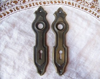 antique shabby chic door plates set of 2antique door knob