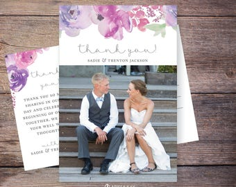 Printable or Printed Wedding Photo Thank You Card, Flowers, Floral Wedding thank you postcard photo, personalized thank you – Sadie